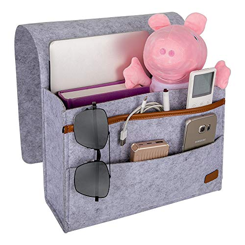 ECZO Bedside Caddy, Bed Caddy Storage Organizer Home Sofa Desk Felt Bedside Pocket with 3 Small Pockets for Organizing Tablet Pad Magazine Books Phone Chargers and More Gadget (Light Grey