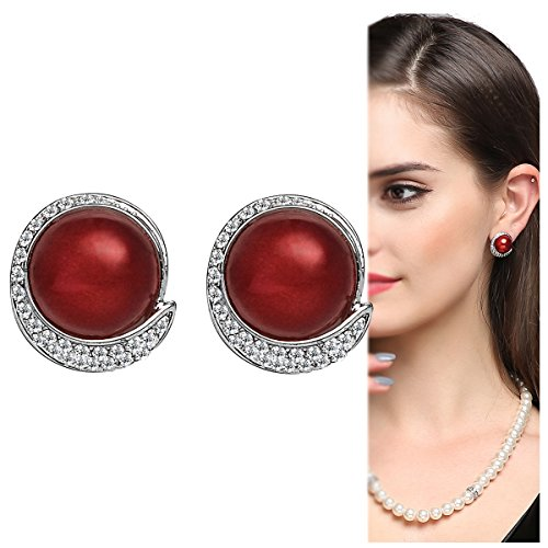 Red Clip on Earrings with Erxtra Large Faux Pearl Antique Cute Earrings for Women