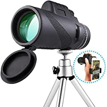 Monocular Telescope High Power 40×60 Compact Portable Monoculars Scope with Phone Clip&Tripod for Smartphone Bird Watching Hunting Hiking Fishing Outdoors Sporting and Concert