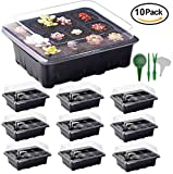 plant tray cover - 10 Set Seed Trays Garden Plant Seedling Starter Germination with Drain Holes Efficiently Transfers Heat Promotes Root Growth with Labels Hand Tool Kit (10 Trays, 12-Cells Per Tray) Holiday Gift Ideas