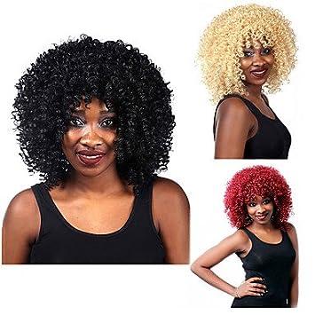 ligaosheng Pelucas sintéticas Rizado Afro Rubio Negro Rojo Mujer Sin Tapa Peluca Natural Corta Pelo sintético
