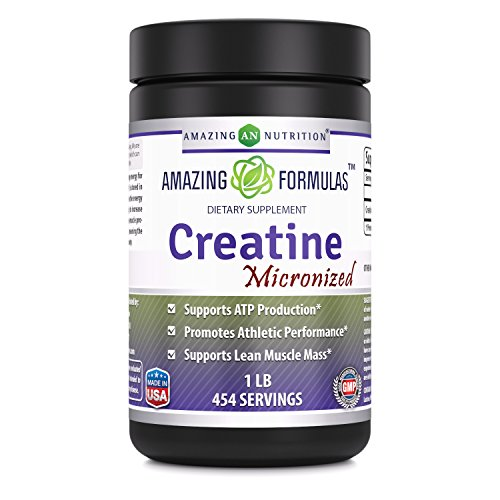 Amazing Nutrition Amazing Formulas Micronized Creatine Monohydrate – 1 lb (453.5 grams) - 5000 mg Micronized Creatine Per Serving – Approx. 454 servings- Ideal Pre & Post Workout Supplement by Amazing Nutrition