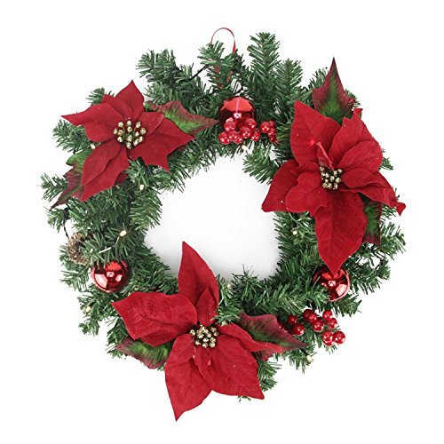 Northlight Pre Decorated Lighted Artificial Pine & Poinsettia Christmas Wreath Warm LED, 16