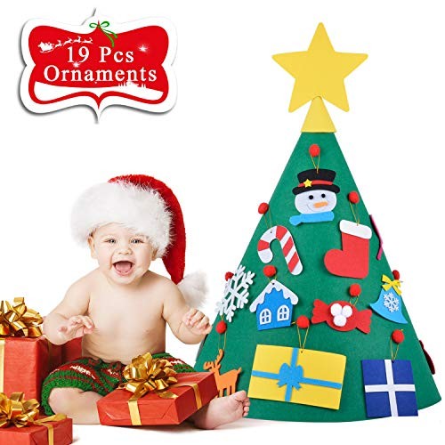Outgeek DIY Felt Christmas Tree for Toddlers, Fansport Felt Christmas Tree for Xmas Decor DIY Christmas Tree for Kids Xmas Decoration