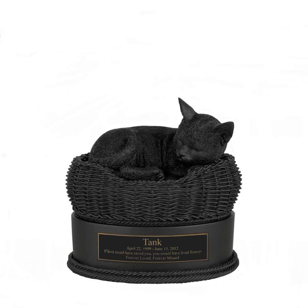 Perfect Memorials Custom Engraved Black Cat in Basket Cremation Urn by Perfect Memorials