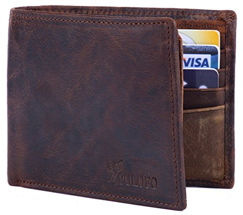 Zipper Leather Mens (POLOFO RFID Blocking Genuine Leather Bifold Wallet for Men with Zipper and 2 ID Windows)