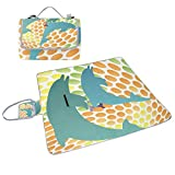 ALIREA Dolphin Fun Picnic Blanket Tote Handy Mat Mildew Resistant and Waterproof Camping Mat for Picnics, Beaches, Hiking, Travel, RVing and Outings