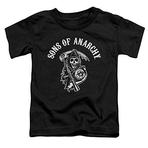 Sons Of Anarchy TV Series SOA Reaper Logo White On Black Little Boys Tod Tee