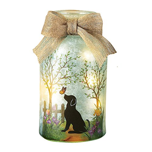 (Collections Etc Springtime Pet Mason Jar Lamp with Burlap Bow, Dog )
