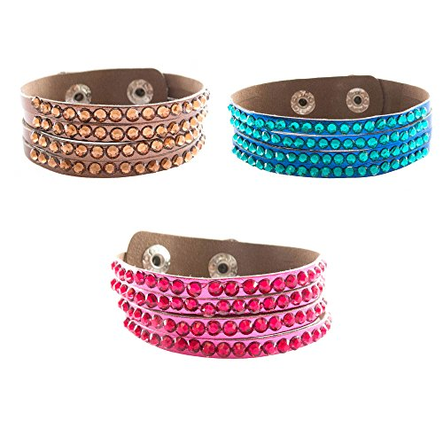 FROG SAC Women's Leather Bracelet 6 PCs Set - Cuff Wrap Bracelets with Metallic Imitation Faux Leather - 4 Row Rhinestones - Adjustable Snap Closure - Great Gifts for Women and Teen Girls (3) (Frog Great Jewellery)