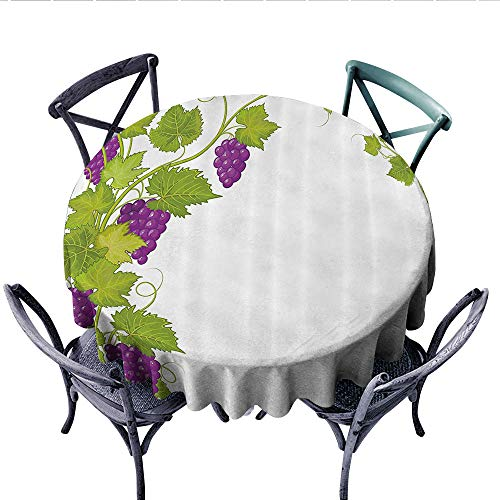 - Grapes Home Decor Dinning Tabletop DecorLatin Brochure Label Italian Town Province Vintage Menu Sign Artwork Dust-Proof Round Tablecloth (Round, 36 Inch, Violet Green)