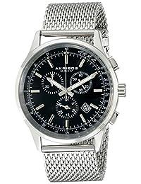Akribos XXIV Men's AK625SSB Ultimate Swiss Chronograph Black Dial Stainless Steel Mesh Strap Watch