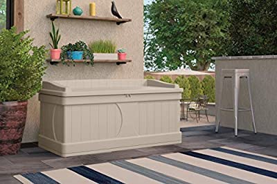 Suncast 99 Gallon Patio Storage Box - Large Waterproof Outdoor Storage Container for Patio Furniture, Pools Toys, Yard Tools - Store Items on Deck, Porch, Backyard - Taupe