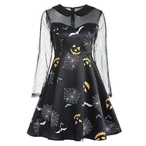 YOCheerful Party Dress Women's Plus Size Dress Halloween Print Lace Patchwork Long Sleeve O-Neck Dress Black