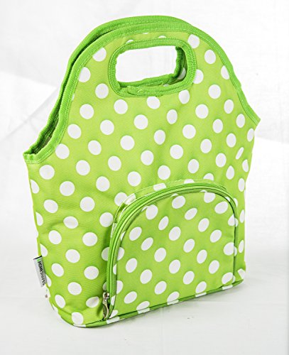 Insuated Lunch Carry Bag Purse( Green Dots) (Insuated)
