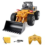 remote control bulldozer toy - 6 Channels 2.4G Remote Control Alloy Shovel Loader Toy,Kids Birthday Gift Bulldozer,4 Wheel 4WD Electronic Vehicle Toys with Light & Sound