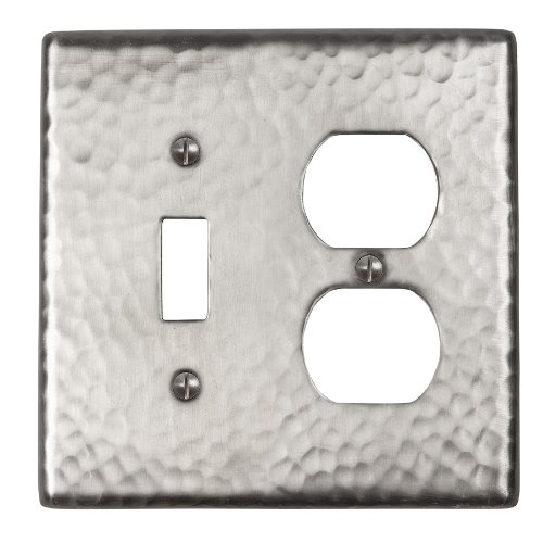 The Copper Factory CF126SN Solid Hammered Copper Single Switch and Duplex Receptacle Combination Plate, Satin Nickel Finish by The Copper Factory