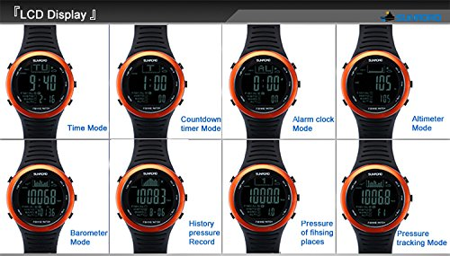 SUNROAD Fishing Watch FR720 Weather Forecast Fishing Place Record Barometer Altimeter Thermometer Backlight Digital Watch by YARUIFANSEN (Image #7)
