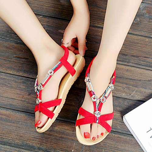 Por 2019 Romanas Tacon Correa Mujer Métallique Trasera De Del Mujeres Casa Sandalias Dedo Estar Rome Pie Doradas Rojo Zapato Zapatillas Xdagnxqw
