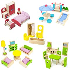 This complete furniture collection has enough pieces to furnish an entire dollhouse! It includes 41 pieces of furniture with lots of fun little details. Each piece is made from natural cuts of wood that have been smoothed down and finished wi...