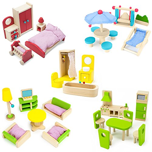 The Fully Furnished Bundle: 5 Sets of Colorful Wooden Dollhouse Furniture (41 Pieces) by Imagination Generation (Doll Furniture Set)