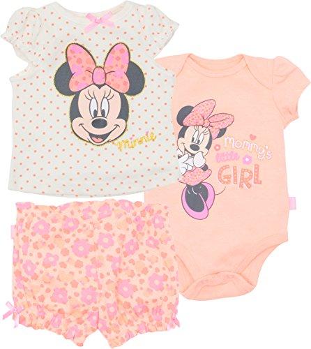 Baby Girls' 3pc T-Shirt Shorts & Bodysuit Set, White & Pink (3-6 Months) (Baby T-shirt Bodysuit Short)