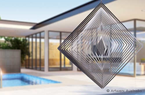 Stainless Steel Wind Spinner - Diamond, Hanging, Premium, Indoor, Outdoor, Shimmering - Marine Grade Stainless Steel. Ideal for Coastal Environments (8 Inch Metal) Australian Made. (Where To Buy Angel Wings)