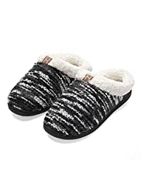 Men's Memory Foam House Slippers Wool-Like Plush Fleece Indoor/Outdoor Shoes