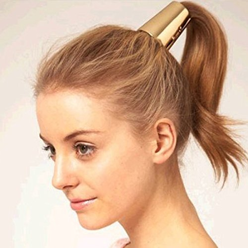 PIXNOR Punk Ponytail Holder Metal Opened Circle Cuff Golden Hair Band Golden