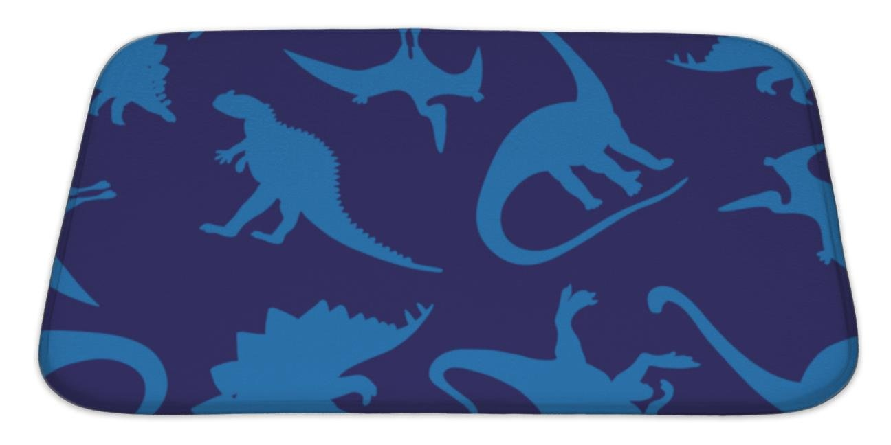 Gear New Bath Mat For Bathroom, Memory Foam Non Slip, Pattern Of Different Dinosaurs On A Blue Wrapping Paper Children Print, 34x21, 6236569GN
