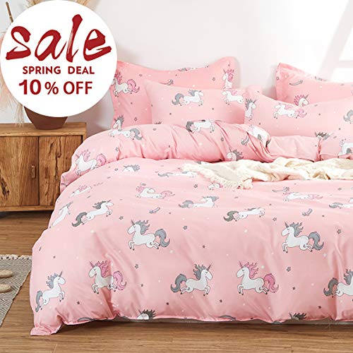 Uozzi Bedding Girls Duvet Cover Set 3 Pieces Twin 68x90 Cute Pattern Bedding Set (1 Pink Unicorn Duvet Cover+2 Pillow Shams) Polyester 800 TC Luxury Hypoallergenic with Zipper Closure, 4 Corner Ties