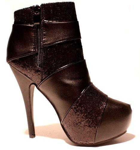 EROGANCE Leder Optik & Glitzer Plateau High Heels Stiefeletten Schwarz A3733 / EU 36-46 Black