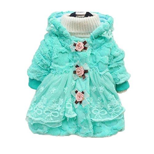 Toddler Kids Baby Girl Faux Fur Coat Outwear Warm Fleece Winter Jacket Snowsuit (2-3 Years, blue)