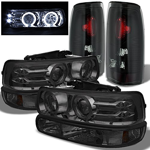 02 Chevrolet Silverado Halo Projector - Xtune For 1999-2002 Chevy Silverado Smoked Halo Projector Headlights + Bumper Set + Black/Smoked Tail Lights 2000 2001