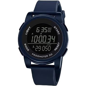 ADAHX Mens Sports Reloj Digital, Impermeable Relojes Digitales con Alarma/podómetro/Deportes duración y Pantalla Grande exhibición Deportiva al Aire Libre ...
