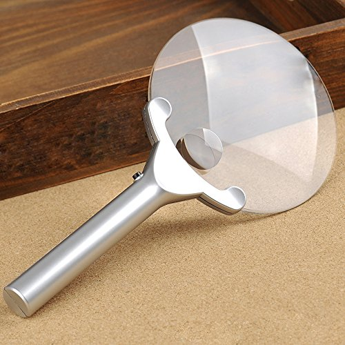 Handheld Magnifier Classic LED Magnifier 3~6X Magnifier Old Man HD Resin Magnifier Silver Plastic Handle Dimensions 270X130mm