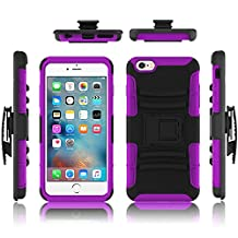 iPhone 6 case, Febe iPhone 6 Dual Layer Kickstand Case, Shockproof Hybrid Rugged Hard Soft Ultra Slim Fit Belt Clip Hostler Cover Case for iPhone 6 4.7 Inch - Purple