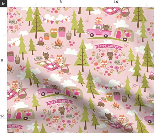 Spoonflower Travel Trailer Fabric - Kids Animals Camping Sleeping Bag Picnic Park Forest Outdoors Baby Nursery Blanket Kids Camping by Bzbdesigner Printed on Minky Fabric by The Yard (Pique Advantage Knit)