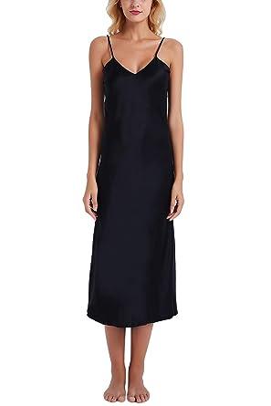 887a39b7005c9 YAOMEI Women's Dressing Gown Full Length, Long Nighties Nightwear Satin  Soft Silky Pyjamas, Lingerie Spaghetti Strap Babydoll Chemise Nightdress