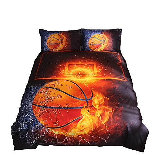 Lldaily 3D Sports Basketball Bedding Set for Teen Boys,Duvet Cover Sets with Pillowcases,Full Size,3PCS,1 Duvet Cover+2 Pillow Shams,(Comforter not Included) for $<!--$31.99-->