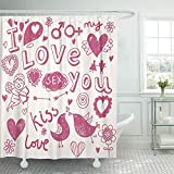 WENEOO LA Shower Curtain Set Waterproof Adjustable Polyester Fabric Pink Love Hand Drawn Cartoon Romantic in Heart Drawing Sex Cupid Arrow Pencil 60'' W x72 L inches Set with Hooks for Bathroom