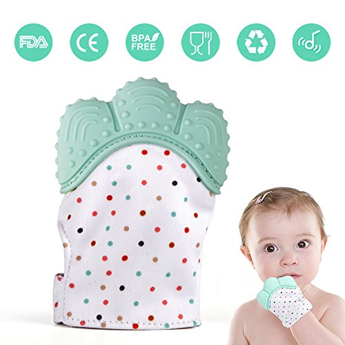 Baby Teething Mitten, Lintelek Baby Self-Soothing Pain Relief Hand Glove Teether, BPA FREE Safe Food Grade Silicon Sounding Baby Glove Teething Mitten Toy for 3-18 Months Baby, Mint Green