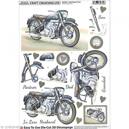 CLASSIC BRITISH MOTOR BIKES- ARIEL SQUARE FOUR - Craft Creations Die-Cut 3D Decoupage -- A4 210x297mm - Step-By-Step Layout dcd 593 -