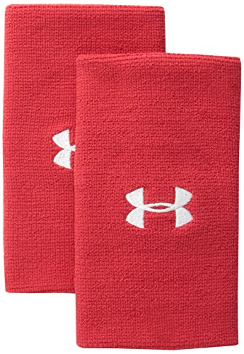 "Under Armour 6"" Performance Wristband 2-Pack, Red (600)/White, One Size"