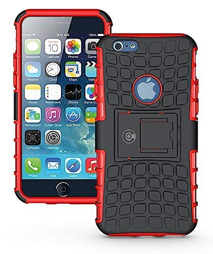 Cable and Case Rugged Dual Layer Rubber Hybrid Hard/Soft Drop Impact Resistant Protective Cover With Kickstand for iPhone 6, iPhone 6S