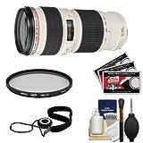Canon EF 70-200mm f/4 L USM Zoom Lens with Hoya UV Filter + Accessory Kit for EOS 6D, 70D, 5D Mark II III, Rebel T3, T3i, T4i, T5, T5i, SL1 DSLR Cameras