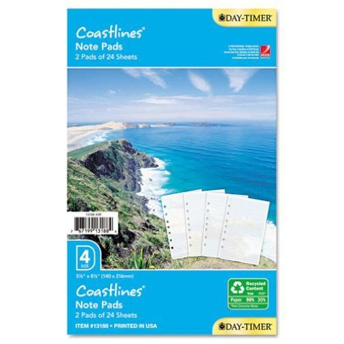 Timer Notepads Day Coastlines - Day-Timer 13188 Note Pad Refill Coastline 5-1/2