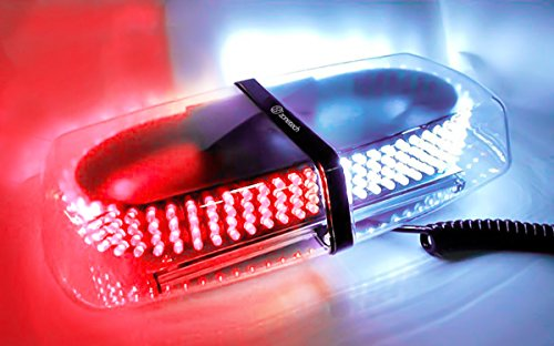 Zone Tech RED/WHITE Emergency Hazard Warning LED Mini Bar Strobe Light w/Magnetic -