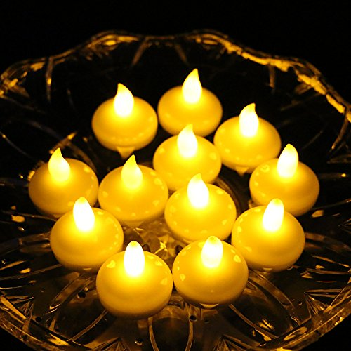 Acmee LED Floating Flameless Candle Tealight + 24 Battery Operated (Included), Perfect for Decoration of Wedding Arrangements/ Thanksgiving/ Christmas - Yellow (24) by Acmee