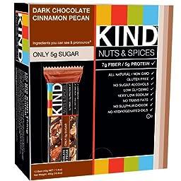 KIND Nuts & Spices, Dark Chocolate Nuts & Sea Salt, 1.4 oz., (Dark Chocolate Cinnamon Pecan 24 Count)